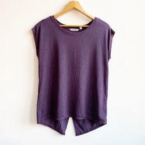 Athleta Breezy Crossback Purple Short Sleeve Top M